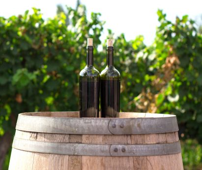 Two bottles of wine on a barrel