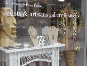 The front window display of Artists & Artisans Gallery, part of the Belleville Gallery District.
