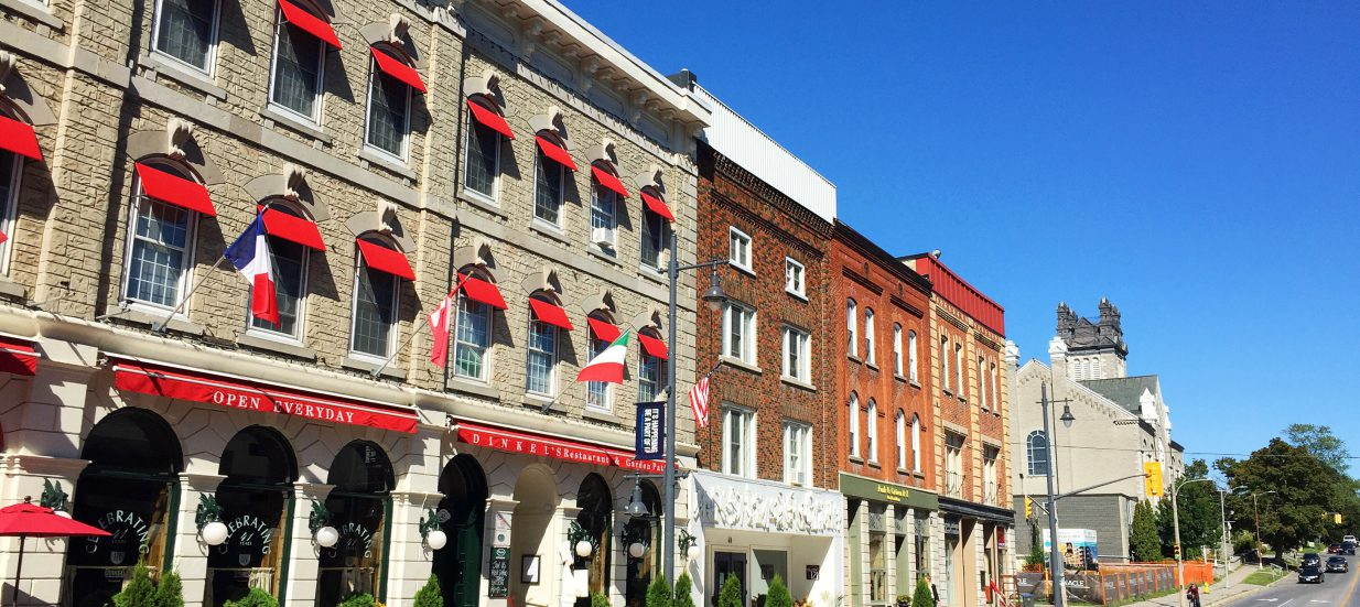 A row of buildings along Bridge Street in downtown Belleville.
