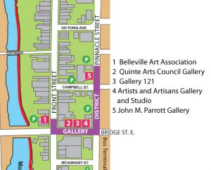 A map of the Belleville Gallery District.