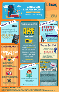 Quinte West library October events Final Poster