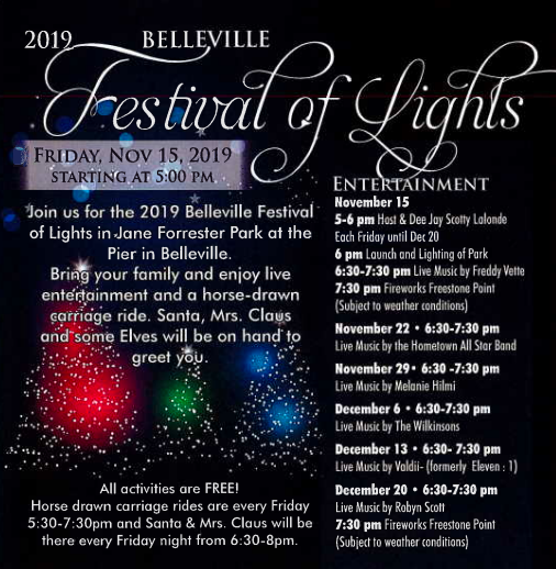Schedule for belleville festival of lights