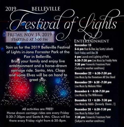 Schedule for belleville festival of lights