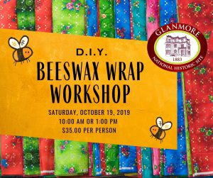 Event poster for a DIY Beeswax Wrap Workshop
