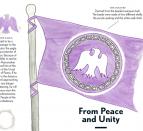 Illustration of purple flag for the Tyendinaga Mohawk Territory