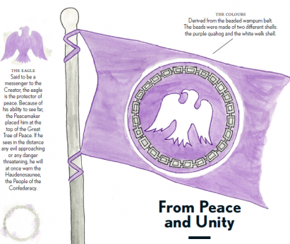 Illustration of purple flag for the Tyendinaga Mohawk Territory