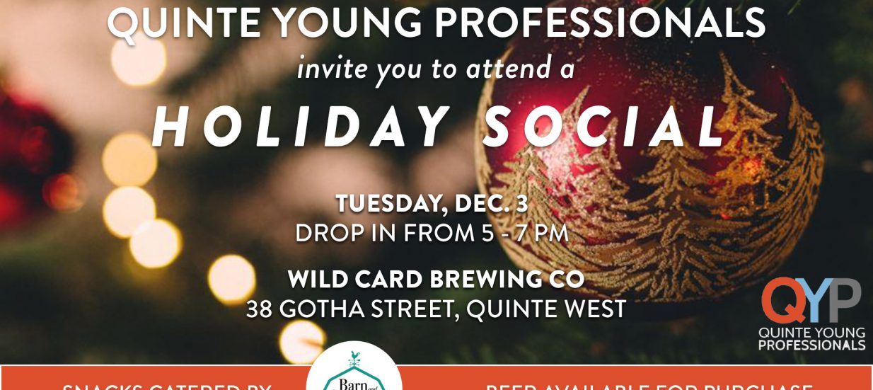 Poster for Quinte Young Professionals Holiday Party