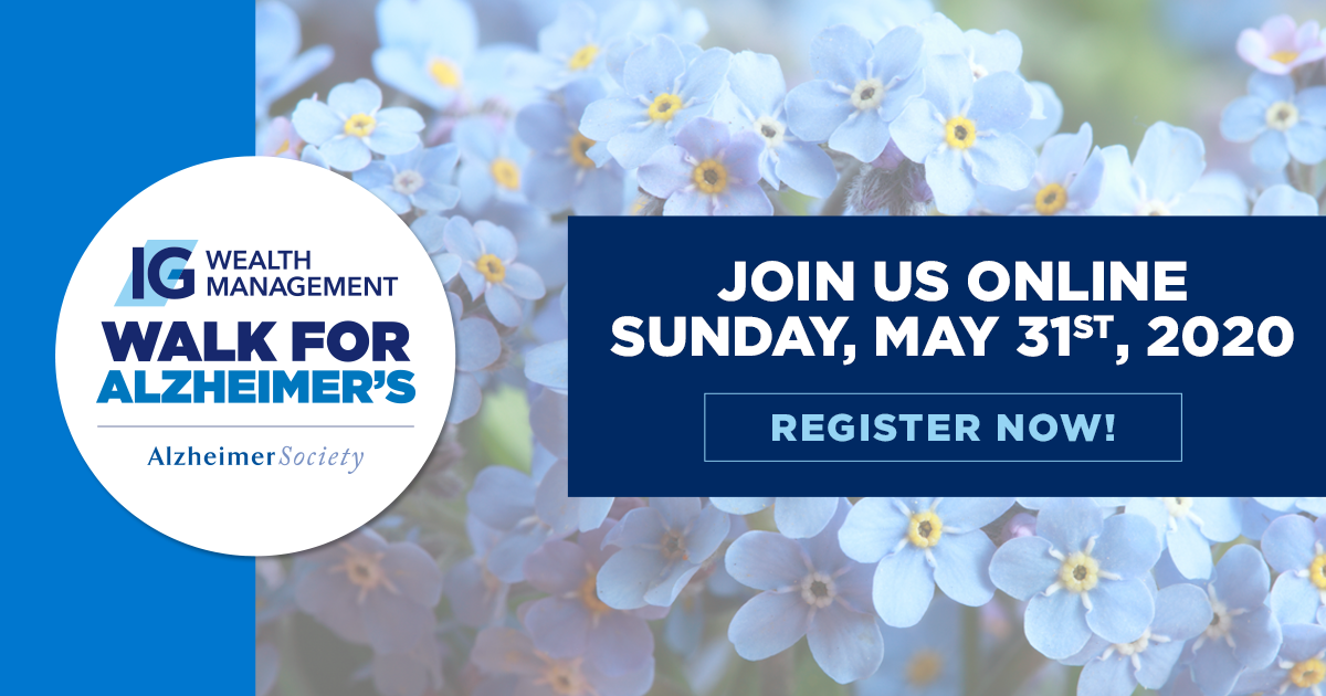 White flowers with text over top: IG Wealth Management Walk for Alzheimer's