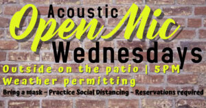 Text: Acoustic Open Mic Wednesdays