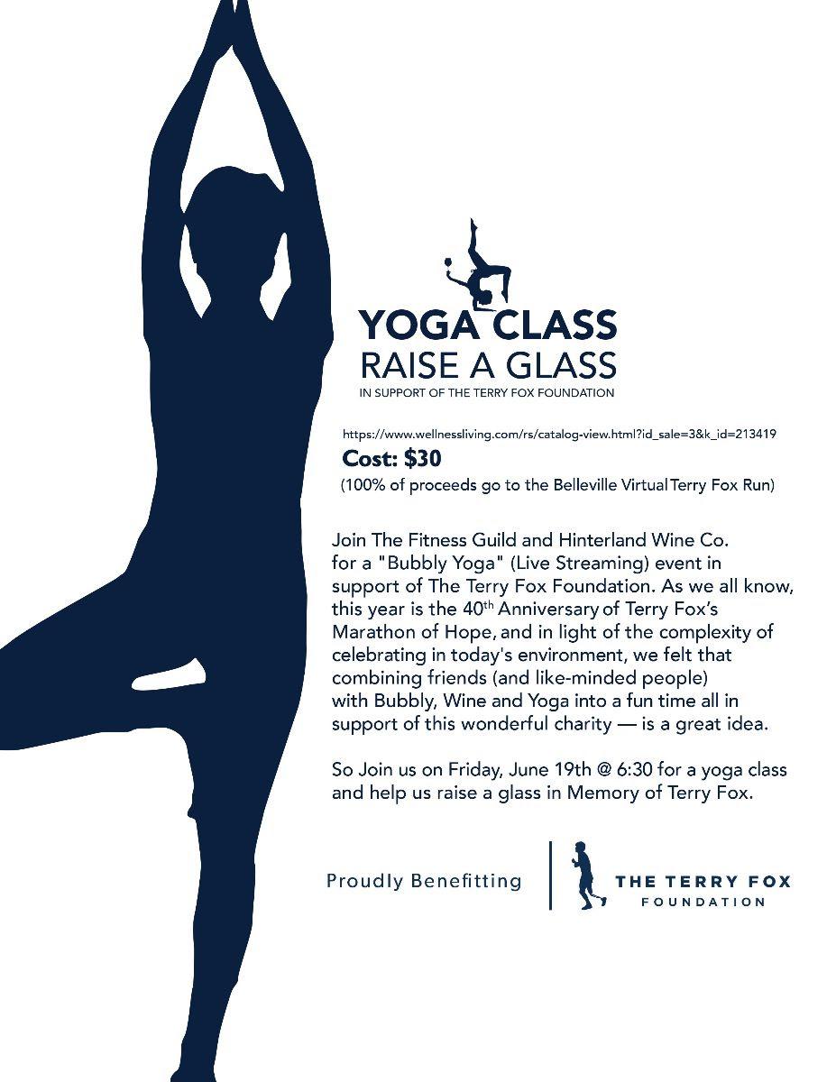 A silhouette doing a yoga pose, with text: Yoga Class, Raise A Glass, Virtual Terry Fox Run