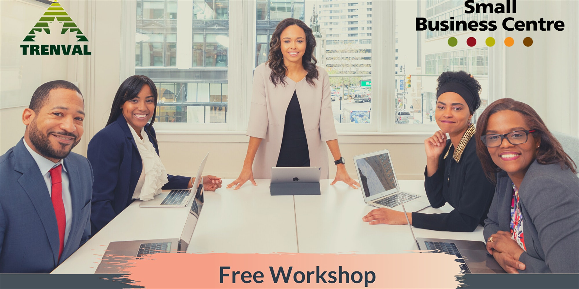 Five business people sitting around a board room table, with text: Free Workshop.