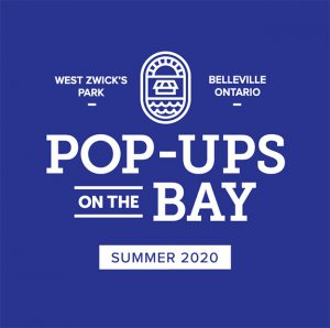 Blue background with white text: Pop-Ups on the Bay, Summer 2020