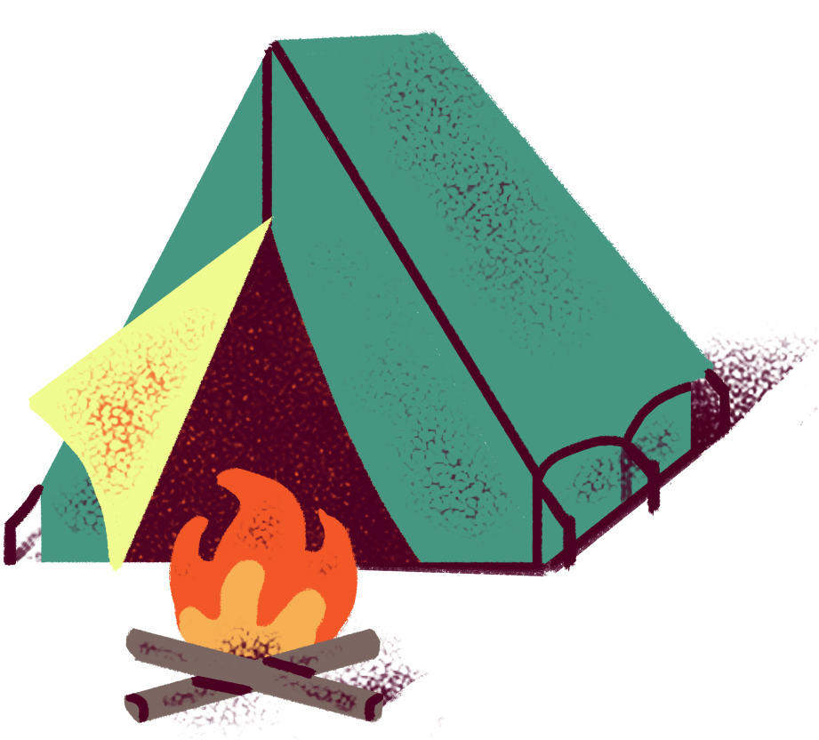 An illustration of a camping tent with a campfire.