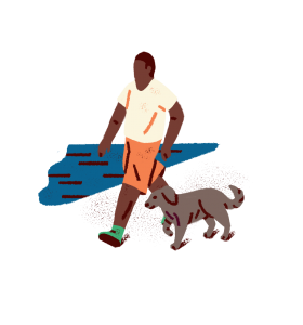 An illustration of a person walking a dog.