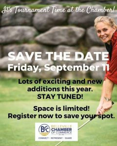 A person golfing with text overlay: Save The Date, Friday, September 11