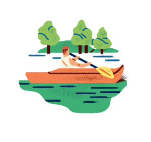 Illustration of a person kayaking