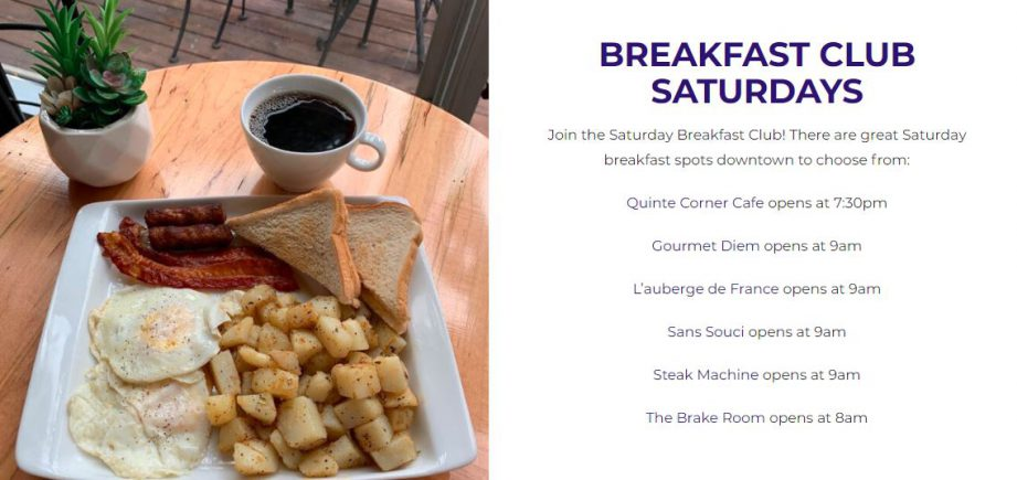 A plate of breakfast food next to a block of text: Breakfast Club Saturdays