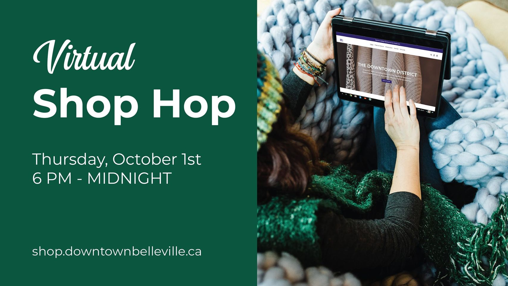 Text with green background. downtown belleville virtual shop hop