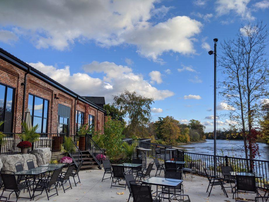 Riverside patio at Signal Brewing Company.