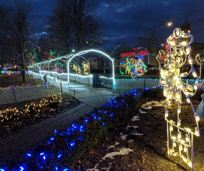 A display of Christmas string lights at night.