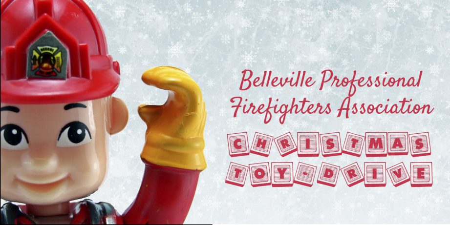 A toy firefighter next to text: Belleville Professional Firefighters' Christmas Toy Drive