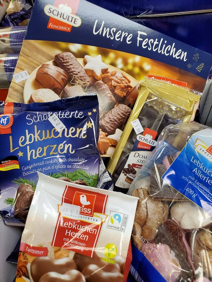 A variety of packages of German holiday cookies.