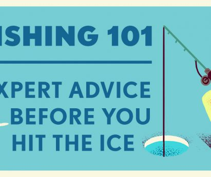 A blue background with an illustration of a fish and a person ice fishing. Dark blue text: Ice Fishing 101, expert advice before you hit the ice.