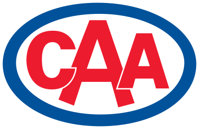 CAA logo, with red letters in a blue circle.