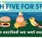 An illustrated background of items on grass by a waterfront: flowers, a burger, maple syrup, birds and a basket of produce.