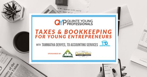 A white desk with text caption on top: Quinte Young Professionals Taxes & Booking Webinar.