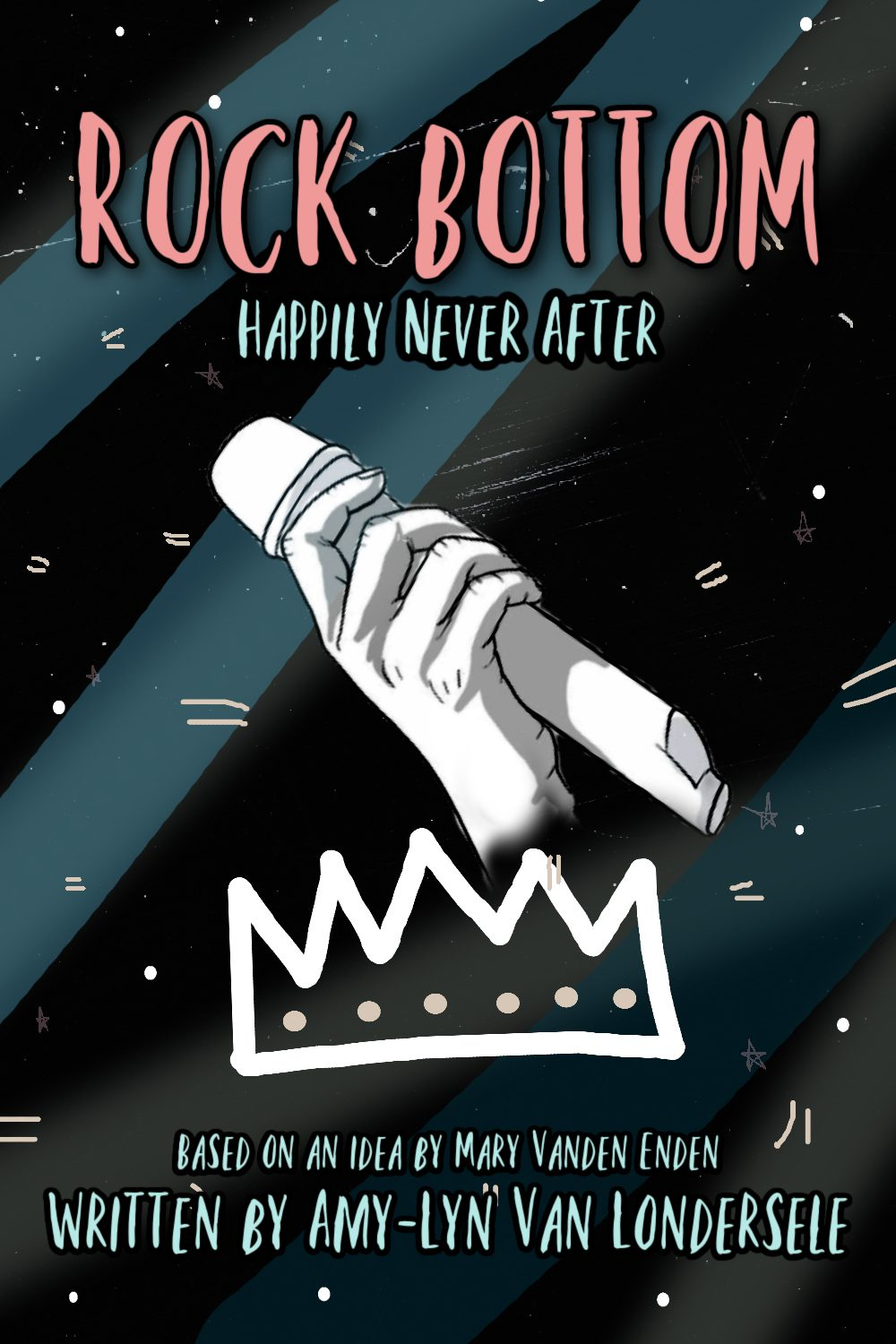 "Grey and black striped background. Pink title reads ""Rock Bottom"". Hand holding microphone above crown in centre of the page."