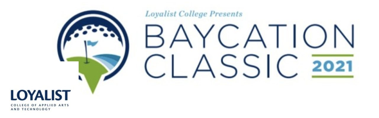 White background with Baycation Classic Golf and Loyalist College Logo.