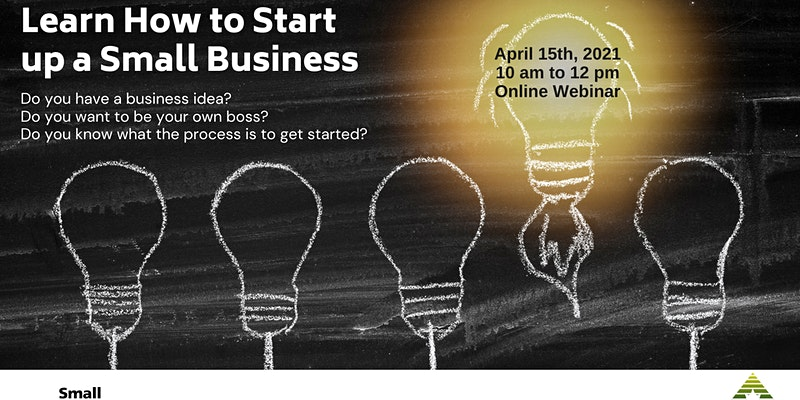 Lightbulb illustrations on a chalkboard: 'How to Start a Small Business' event info information