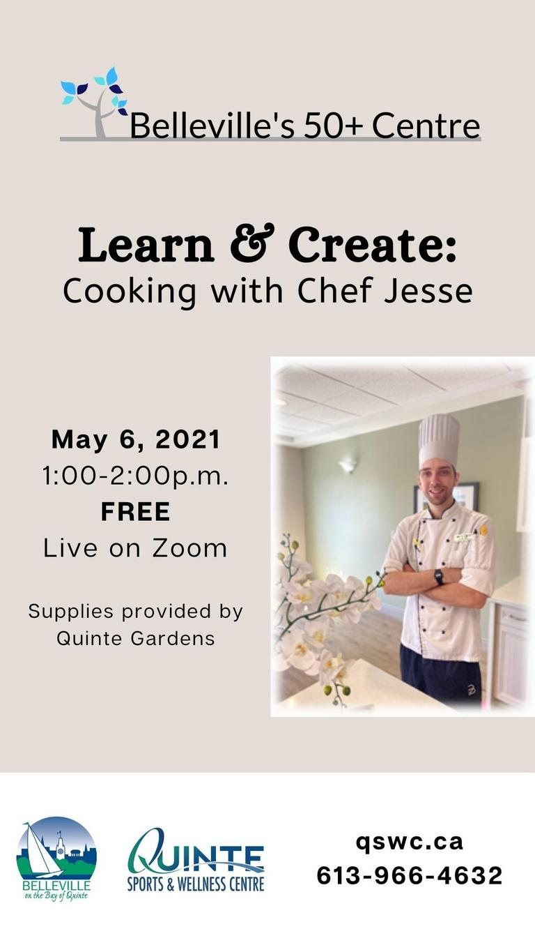 Light pink background featuring image of Chef Jesse in the bottom right hand corner. Event details surround image.