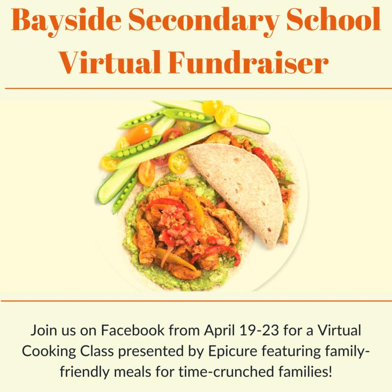 Plate of food on yellow background surrounded by event Byaside Secondary School Virtual Fundraiser details.