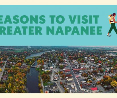 An aerial photo of Greater Napanee. Text along the top: 5 reasons to visit Greater Napanee.