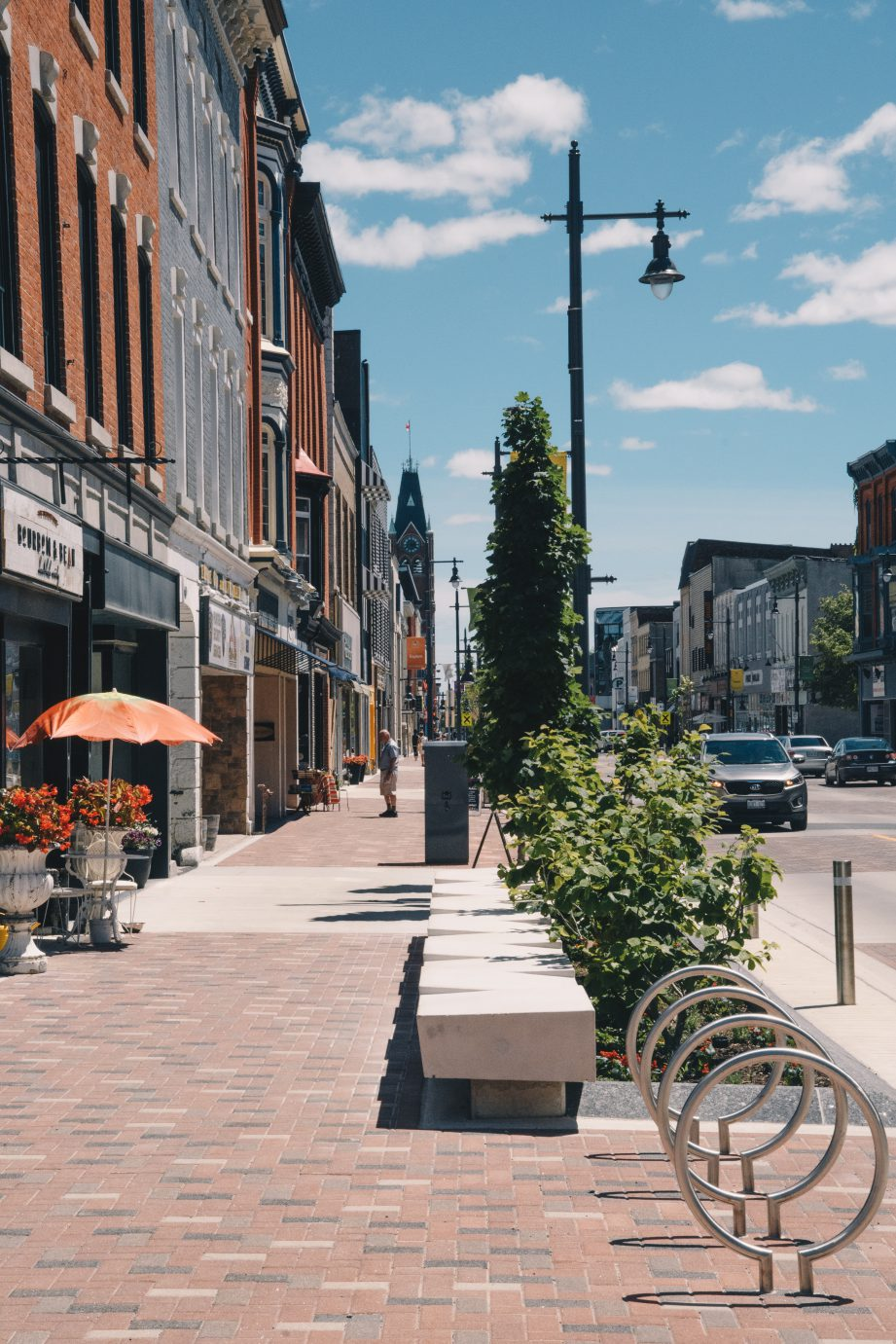 Downtown Belleville with historic buildings lining the street.