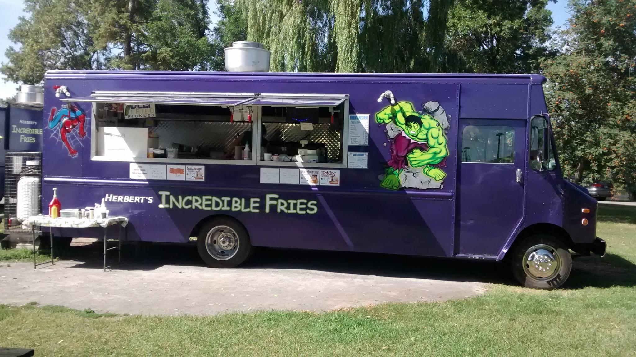 A purple food truck for Herbert's Incredible Fries.